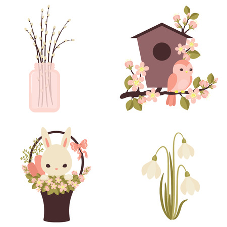 flower baskets: Spring icons. Flowers and animals. Four vector illustrations.