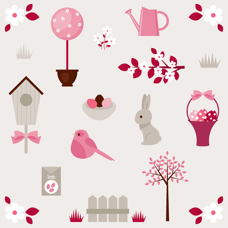 Spring vector icons set