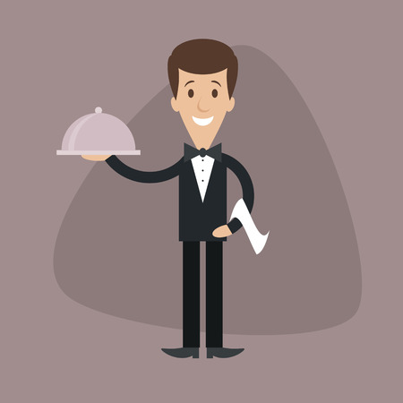 Cartoon illustration of waiter serving food on the food platter
