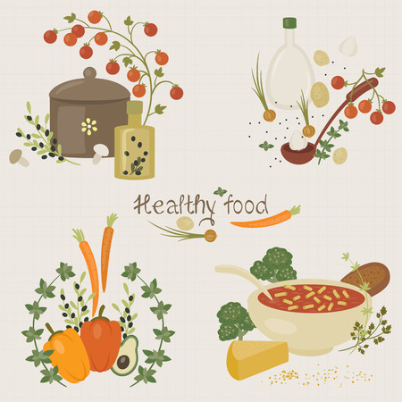 soup pot: Four small illustrations of healthy food with hand lettered text. Eps 10