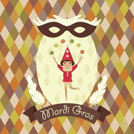 juggler: Mardi Gras card. Juggler with colorful balls. Carnival mask with feathers. Banner with text Mardi Gras. Illustration
