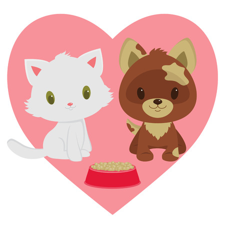 kitten cartoon: Kitten and puppy friendship. Kitten and puppy sitting close to cats and dogs food. Heart on the background