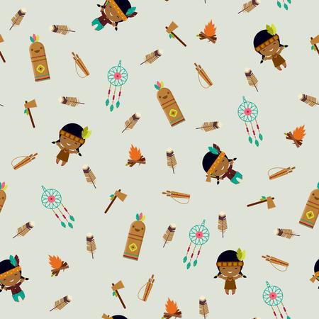 boyish: American indians clipart seamless pattern