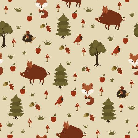 jabali: Los animales salvajes en el bosque. Patrón transparente