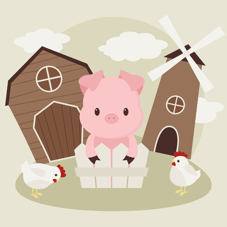 cartoon chicken: Pig and chickens on the farm yard