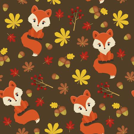 Cute little fox in autumn forest. Seamless pattern