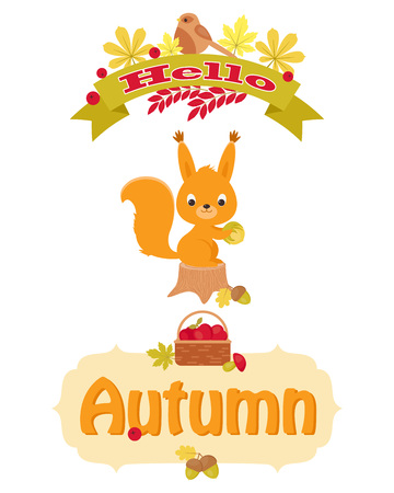 Hello autumn vector illustration. Squirrel with nut, little bird, floral banner, many autumn leaves and figments, basket with apples