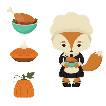 roasted turkey: Thanksgiving day. Pilgrim female fox with roasted turkey. Possibility to change the dish on pumpkin pie or pumpkin.