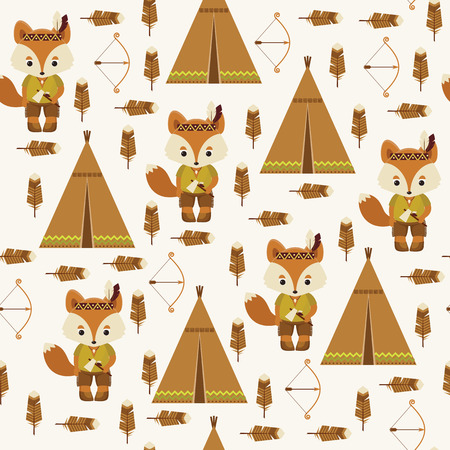tomahawk: American indian fox character, wigwam, feather, bow and arrow. Cute seamless pattern.