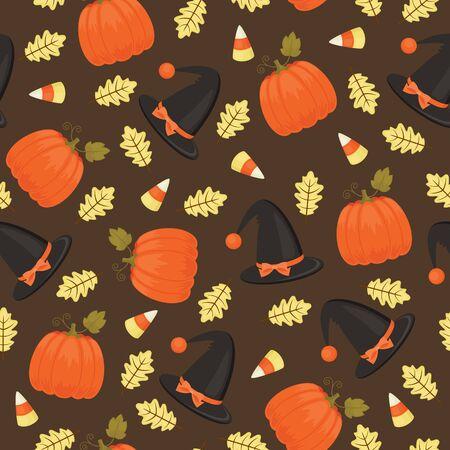 candy corn: Halloween seamless pattern. Witch hat, pumpkin, candy corn, oak leaf Illustration