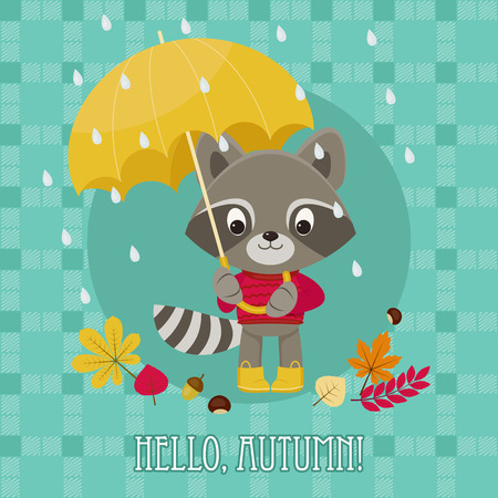 rainy season: Greeting card Hello autumn with cute raccoon character under umbrella.