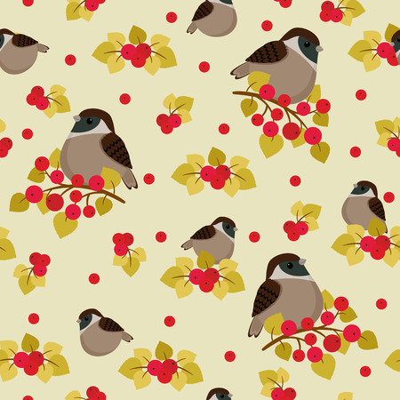 sparrow: Sparrow sitting on the branch with berries seamless pattern