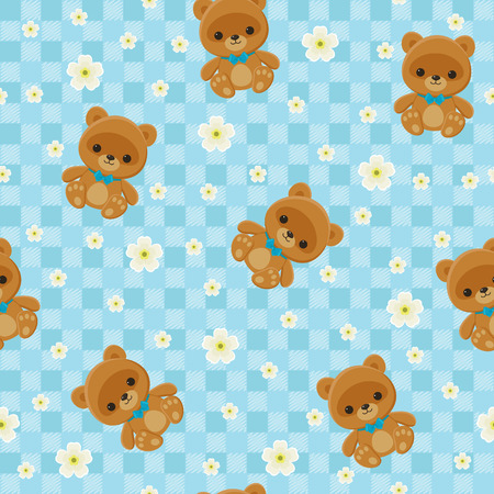 Blue checkered floral seamless pattern with teddy bear