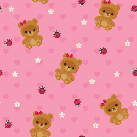 nice girl: Pink floral seamless pattern with teddy bear and ladybug