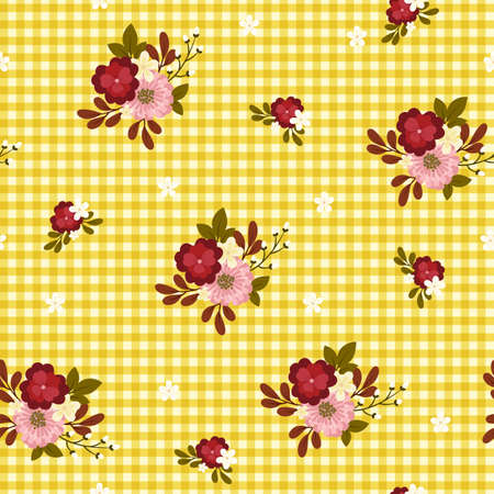 checkered: Seamless pattern. Bright flowers on yellow checkered background.