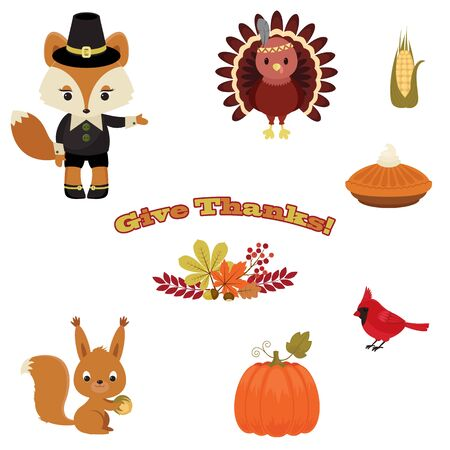 indian family: Beautiful Thanksgiving icons. Forest animals and Thanksgiving food and autumn leaves.