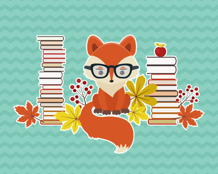 educated: Smart fox in glasses with many books and autumn leaves. Illustration