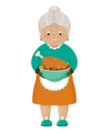 retro woman: Smiling grandmother with Thanksgiving turkey. Isolated over white. Illustration