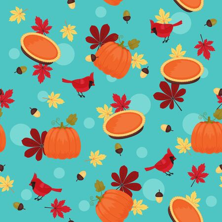 Traditional Thanksgiving seamless pattern. Pumpkin, red cardinal and autumn leaves,