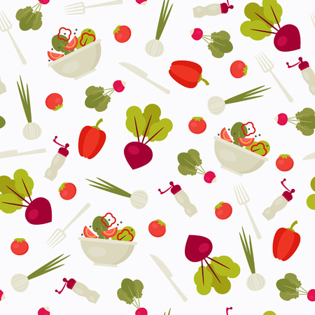 Seamless pattern with vegetables and kitchenware