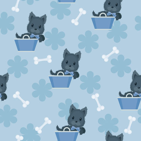 Seamless blue pattern. Scotch terrier in a blue basket with blue bow and bones around.