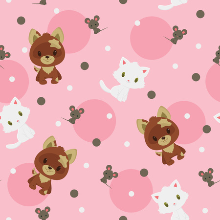Brown puppy, gray little mouse and white kitten seamless pattern. Childish vector cartoon illustration Illustration