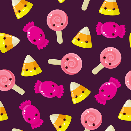 caras felices: Sin fisuras Candy. Maíz de caramelo, piruletas y caramelos con caras felices en fondo púrpura.