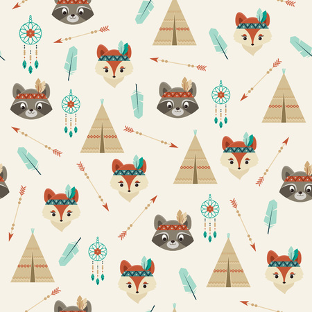 boyish: American indian fox and raccoon characters, wigwam, feather, bow and arrow, dream catcher. Cute seamless pattern. Illustration