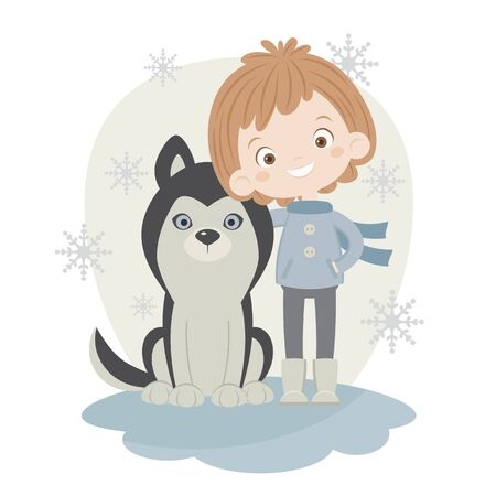outside: Boy with husky outside in winter time. Vector illustration