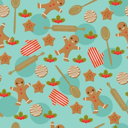Christmas baking seamless wallpaper Illusztráció