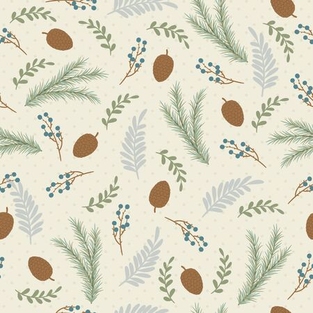 Seamless pattern. Hand drawn branches, pine cones, leaves and berries. Drawn using special brushes which are in the Brushes panel.