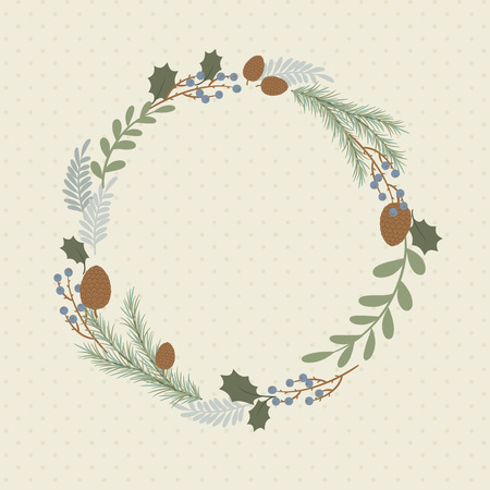 christmas tree branch: Wreath on background with hand drawn plants.