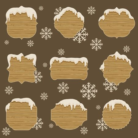 melting: Wooden signboards in different shapes with melting snow. Nine announcement boards. Background with snowflakes