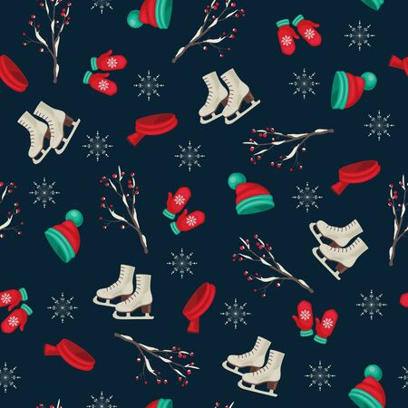 Seamless winter wallpaper with skates, hat, scarf, mittens and berry branch. Outdoor recreation during holidays.