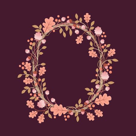 Floral hand drawn wreath. Forest plants on dark background.