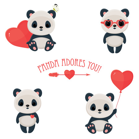 panda: Saint Valentines Day cute web icons. Panda in love. Cute asian bear, arrow and heart.