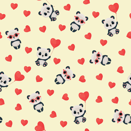 Seamless  pattern with panda in love. Saint Valentines Day wallpaper.
