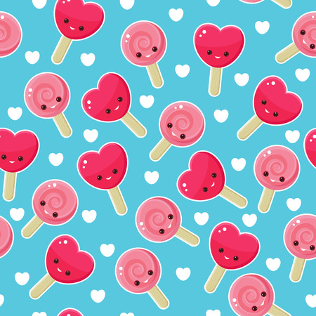 caras felices: Caramelos de color rosa y rojo sobre fondo azul con las caras sonrientes felices