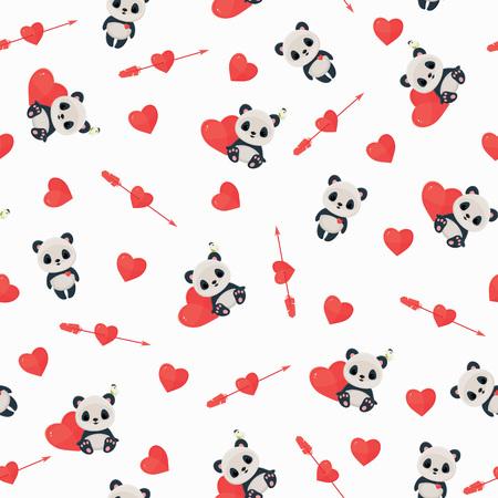 愛のパンダとのシームレスなパターン。聖バレンタインの日の壁紙。パンダ、心が、白い背景の上の矢印