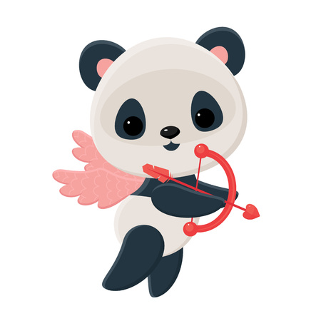 Little panda cupid with bow and arrow flying on pink wings