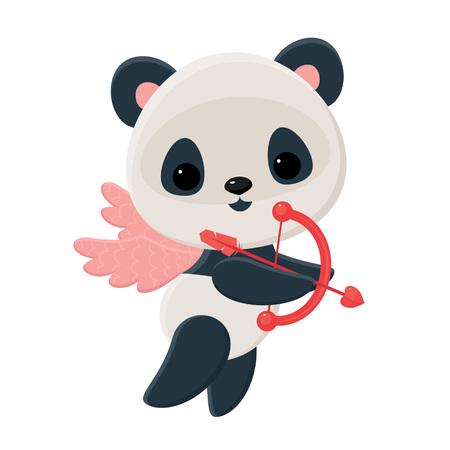 oso panda: Panda pequeño Cupido con arco y flecha en vuelo sobre las alas rosadas