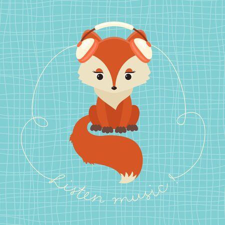 headphone: Cute fox with set of headphones listening music. Hand lettering text Listen music!