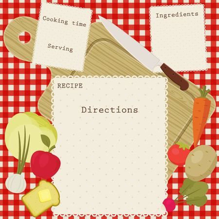 recipe card with space for directions, ingredients, cooking time and serving. Fruits and vegetables, cutting board and knife over checkered tablecloth. Illustration