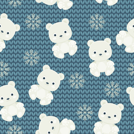 Polar bear and snowflakes over blue knitted background. Seamless pattern