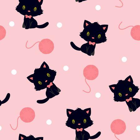 childish: Black kitten with pink knitting yarn seamless pattern