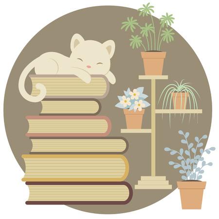 Gato el dormir en una pila de libros cerca de las plantas de interior.