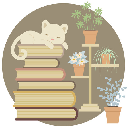 indoor plants: Sleeping cat on a pile of books close to indoor plants. Illustration