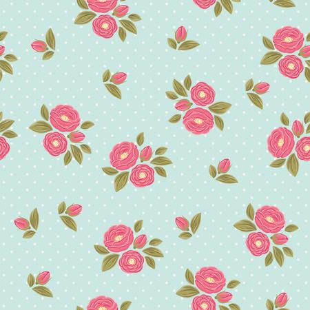Shabby chic polka dot flora vintage patroon. Roze pioenen met groene bladeren op een blauwe polka dot achtergrond.