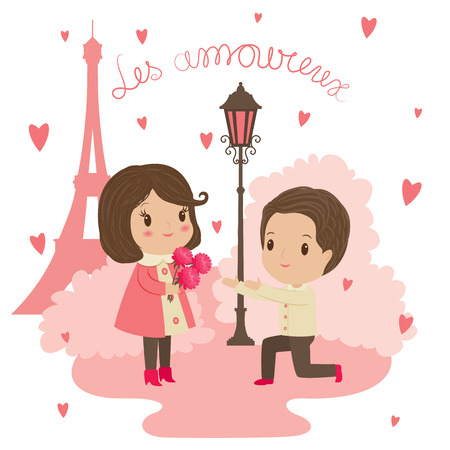 street light: Saint Valentines Day illustration. A man gives flowers to a woman close to Eiffel tower and street light. Text in French Les amour. Illustration