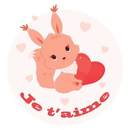 adoring: Cute cartoon squirrel holding a heart. Lettering in French Je taime
